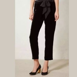 Anthropologie Elevenses Black Velvet Trousers